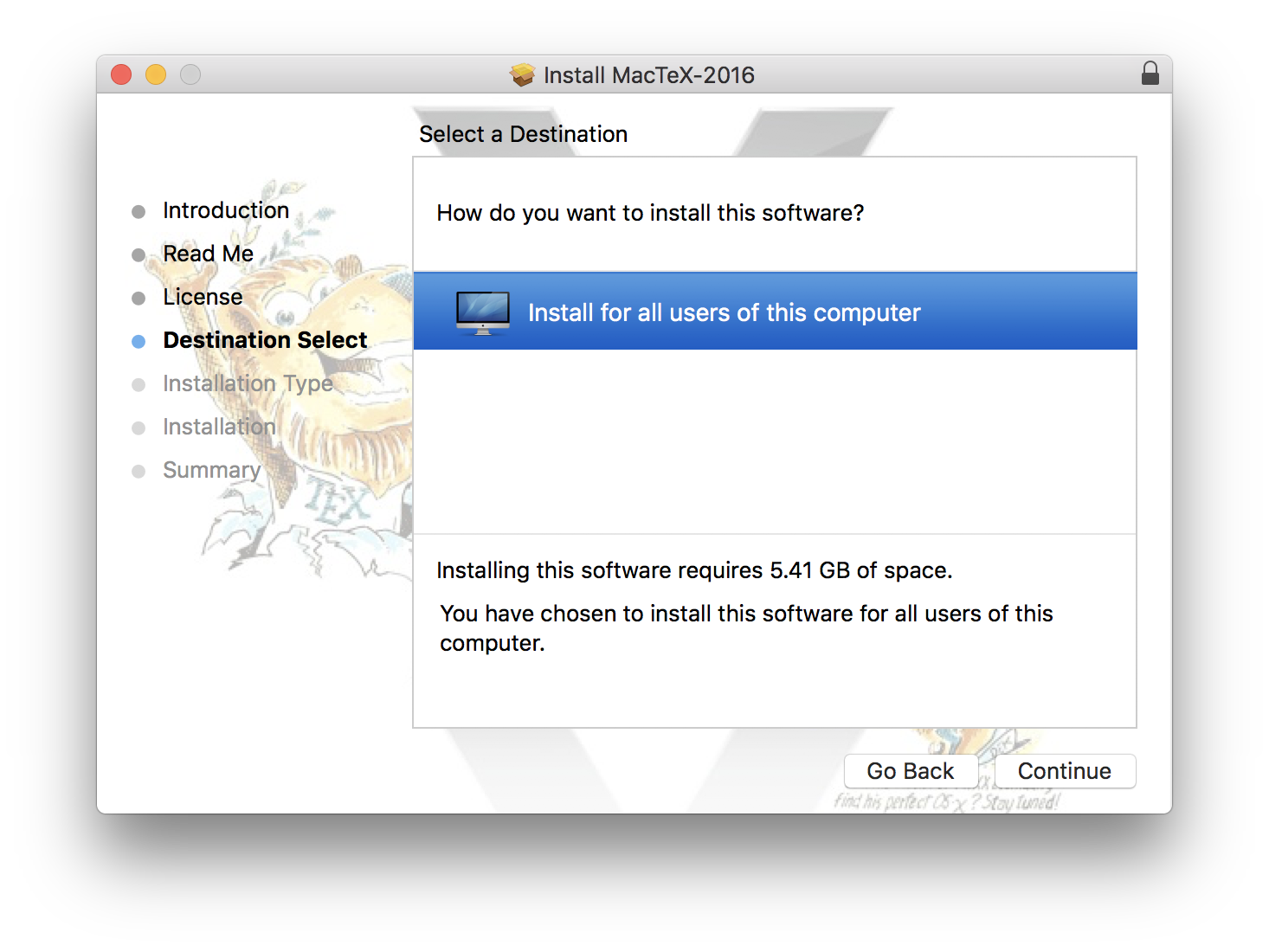 Formatting Information: — Installing the software